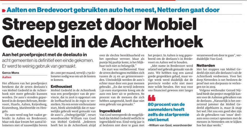 Krantenartikel over het stopzetten van het project MobielGedeeld in de Achterhoek